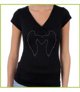 Ailes d'ange sur un tee shirt en strass de couleur noir