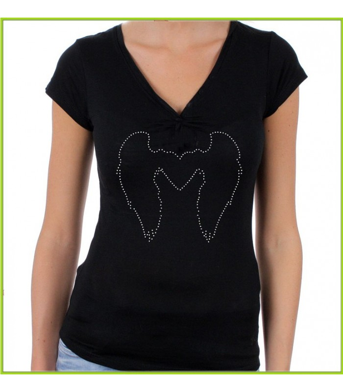 Tee shirt Strass ange et ailes