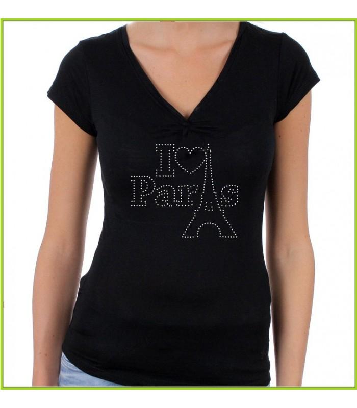 Tee shirt strass paris
