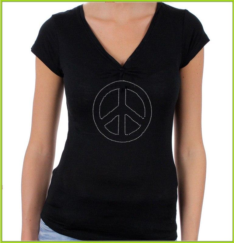 Tee shirt strass peace love
