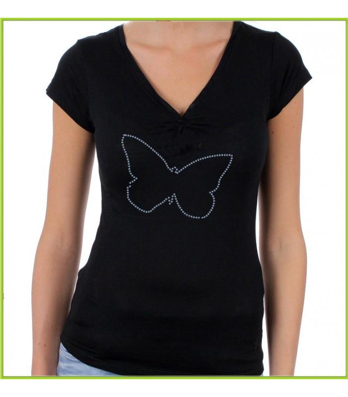 Tee shirt strass papillons
