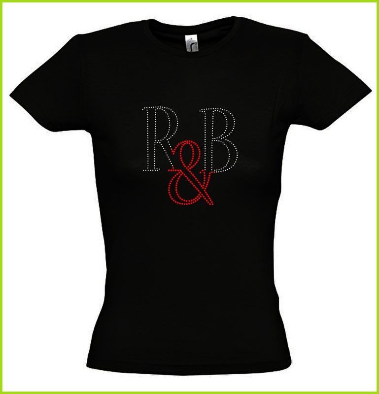 Les Lettres R&b Sur Un Beau Tee Shirt Noir En Strass, T
