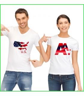 tee shirt duo pour le couple, tee shirt rigolo pour fans des usa