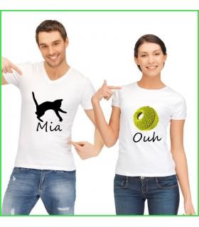 tres beau tee shirt pour homme et pour femme miaouh