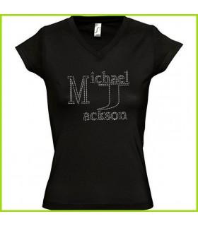 tee shirt en strass avec michael jackson