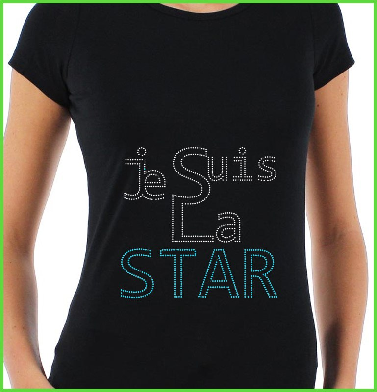 T shirt strass je suis la star