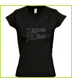 james dean sur un tee shirt en strass