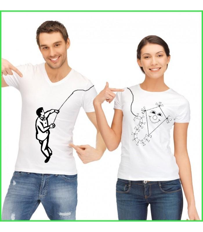 T shirt couple cerf volant