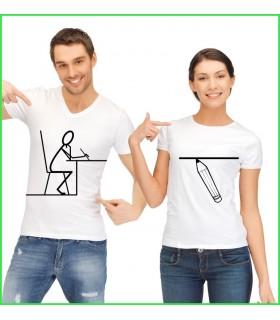 Tee shirt duo très original pour les dessinateurs et amateurs de texte