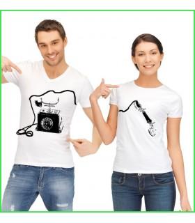 Téléphone et combiné sur t shirt couple duo