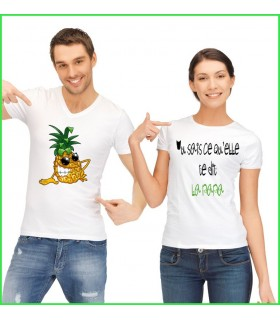 un tee shirt original avec la nana et un ananas