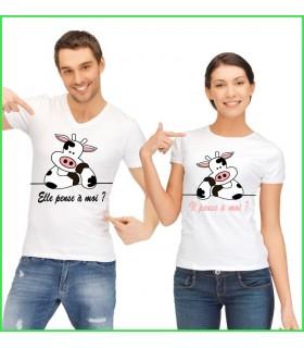 Les 2 vaches sont transférées sur un tee shirt pour le couple