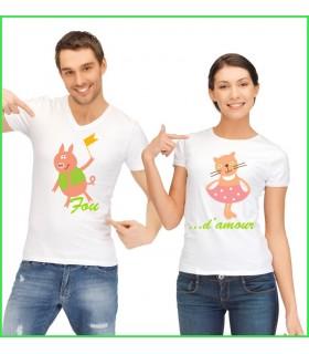 les cochons sont à l'honneur sur ce tee shirt rigolo pour couple