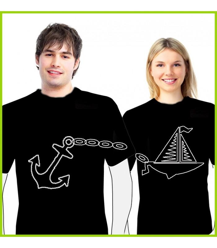 T shirt couple bateau et ancre