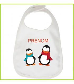 bavoir petits pingouins personnalisé