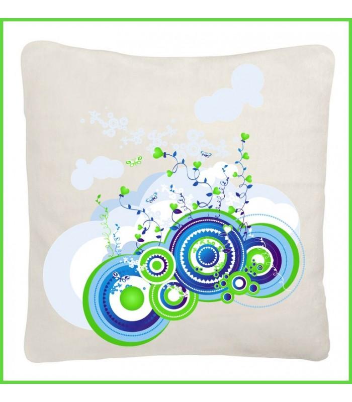Joli coussin blanc tendance et design au format 40x40, motif bleu couleur blanc