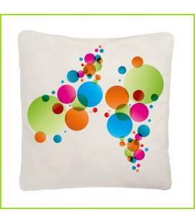 De jolies bulles colorées sur un coussin blanc format 40x40