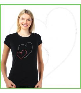 beau tee shirt strass avec coeur en strass réalisé à la main