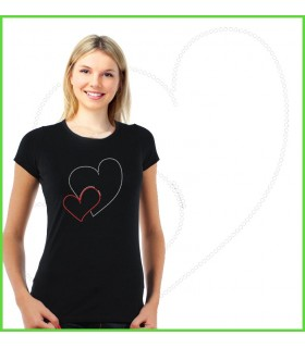 Tee shirt strass coeur love