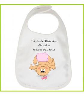 Petit message rigolo sur la purée de maman inscrit sur un bavoir