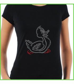 un joli petit canard en strass décore ce tee shirt de couleur noir ou blanc