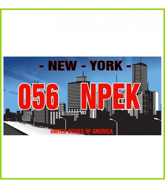 une plaque de porte que nous personnalisons avec le texte de votre choix, usa et new york