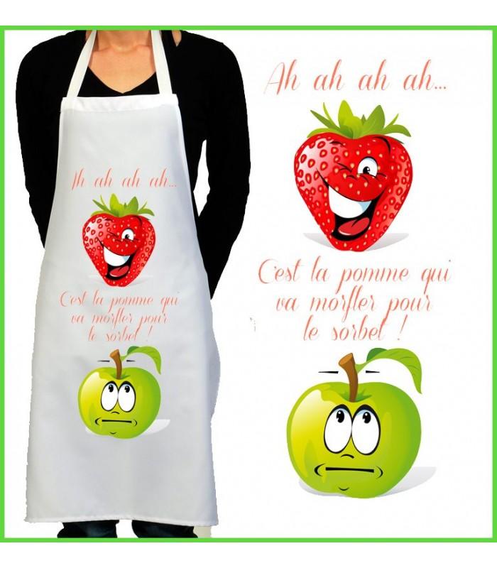 Tablier de cuisine motif fraise pomme - Ustensiles de cuisine rigolo ...