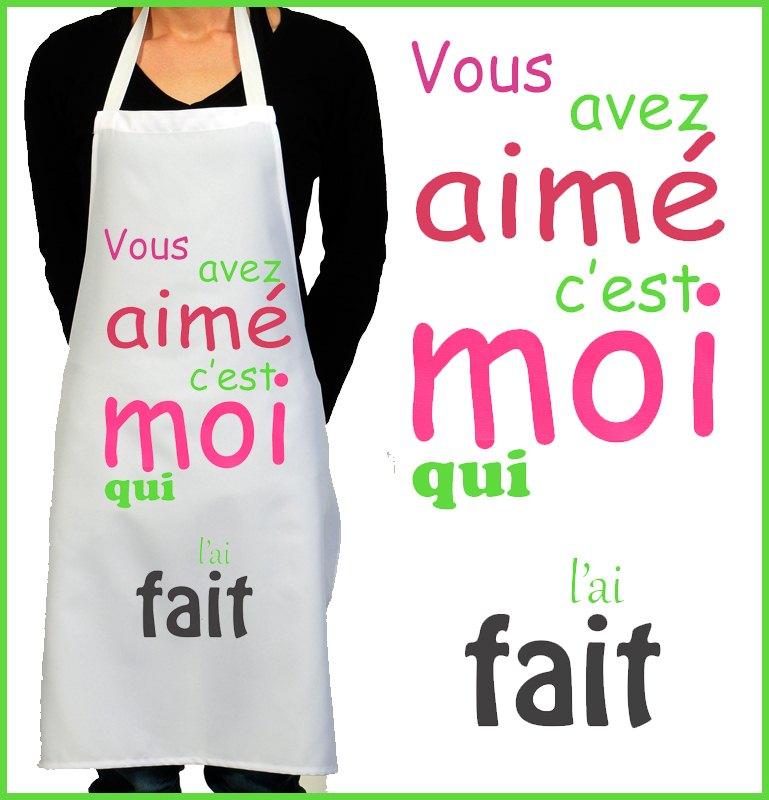 Tablier de cuisine rigolo pour rire et sourire cadeau femme for Cuisine fait maison