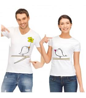 lot de tee shirt pour le couple oiseaux sur branche d'arbre