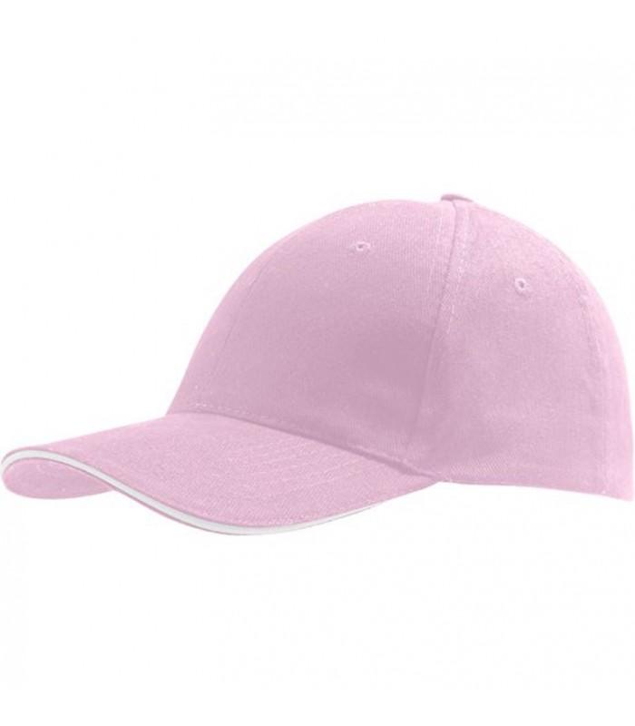 broderie personnalisée sur une casquette rose et blanc
