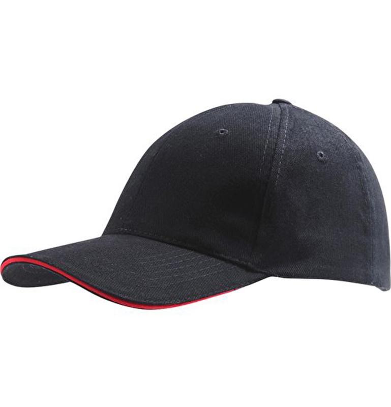 Casquette brodée noire et rouge