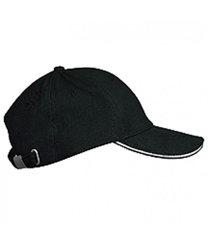 personnalisation de casquette noire liseré blanc