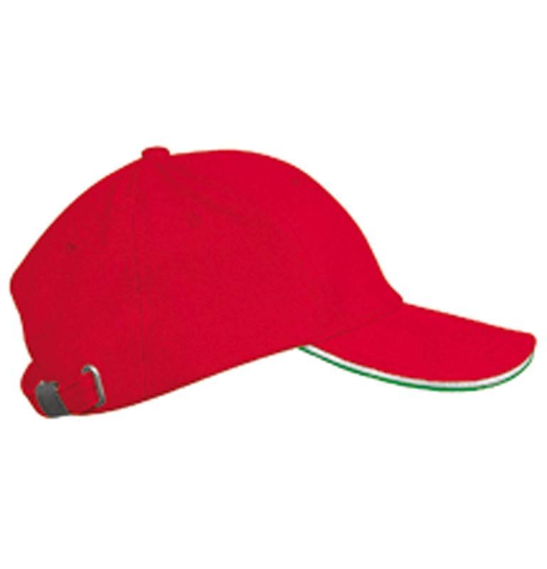 Casquette brodée rouge liseré blanc