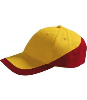 broderie sur casquette couleur jaune rouge