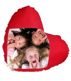 coussin coeur personnalisé avec une photo