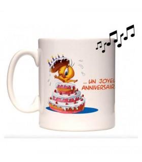 mug musical joyeux anniversaire personnalisé avec une photo