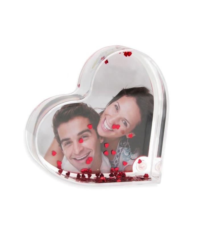 coeur paillettes personnalisée avec une photo