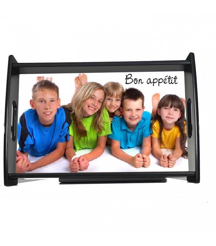 plateau repas noir laqué personnalisé avec une photo