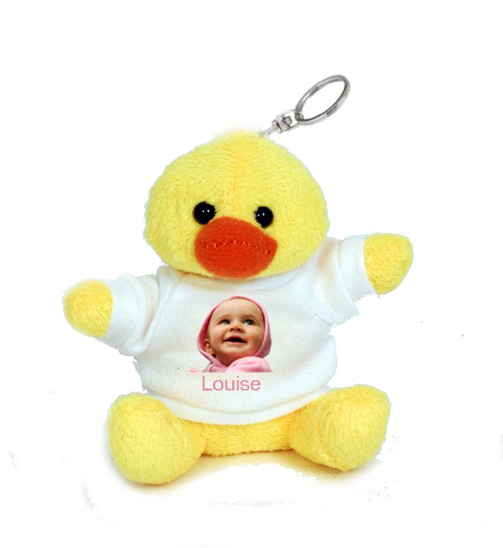 Photo sur porte clé peluche canard