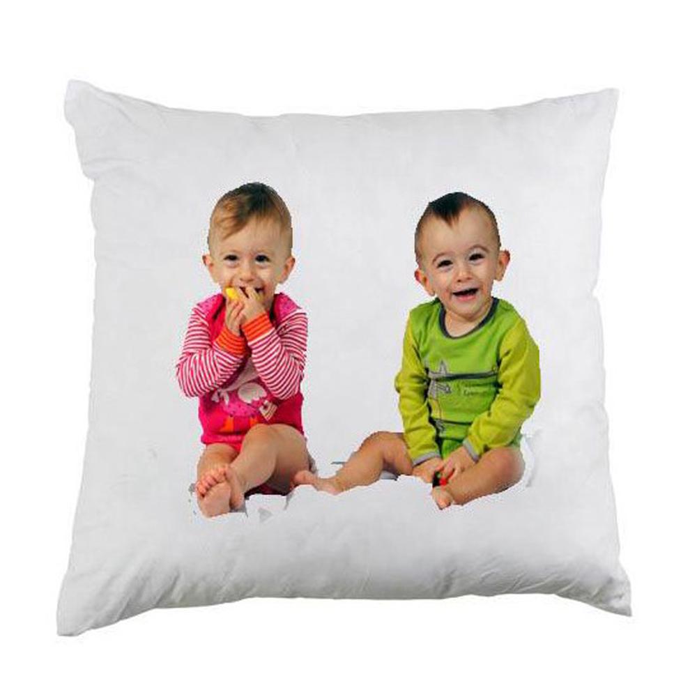 coussin blanc personnalis avec photo cadeau d coration. Black Bedroom Furniture Sets. Home Design Ideas
