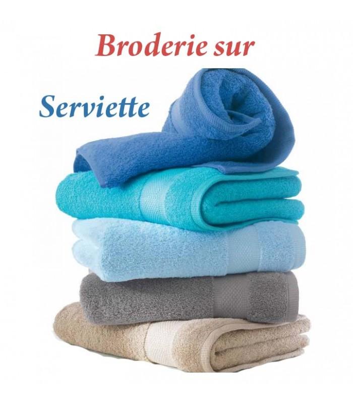 jolie serviette brodée avec prénom ou date