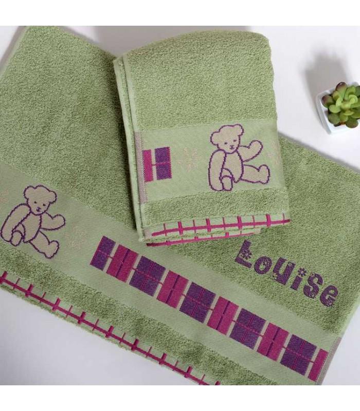 drap de bain et serviette brod e couleur vert pour joli cadeau pas cher. Black Bedroom Furniture Sets. Home Design Ideas