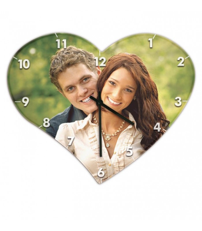 Horloge personnalisée forme coeur