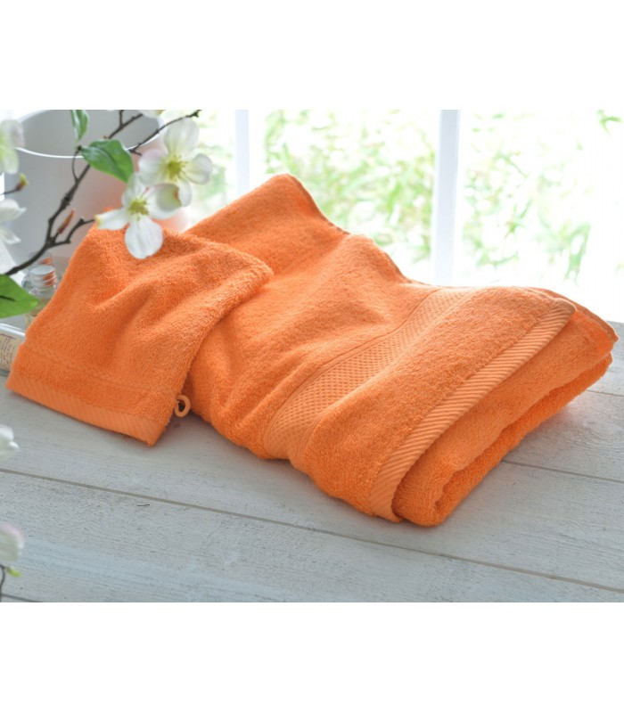 drap de bain brod couleur papaye broderie sur serviette ponge de grande qualit. Black Bedroom Furniture Sets. Home Design Ideas