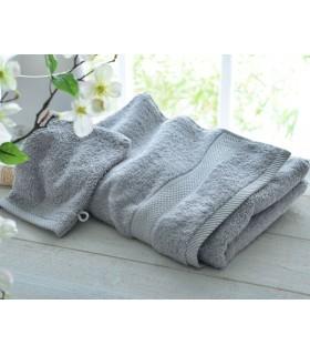 broderie sur drap de bain haute qualité couleur gris clair