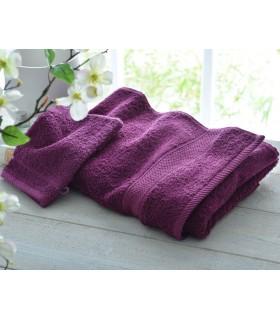 broderie sur drap de bain haute qualité couleur prune