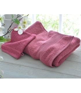 broderie sur drap de bain haute qualité couleur framboise
