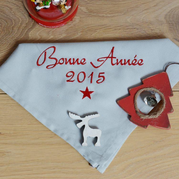 serviette de table brodée nouvel an