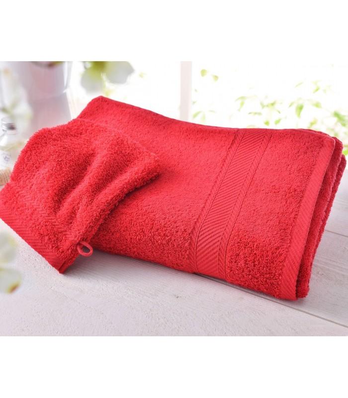 Drap de bain naissance brodé rouge