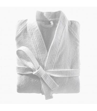 Peignoir brodé col kimono blanc